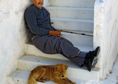 Man and his dog, the Greek Islands